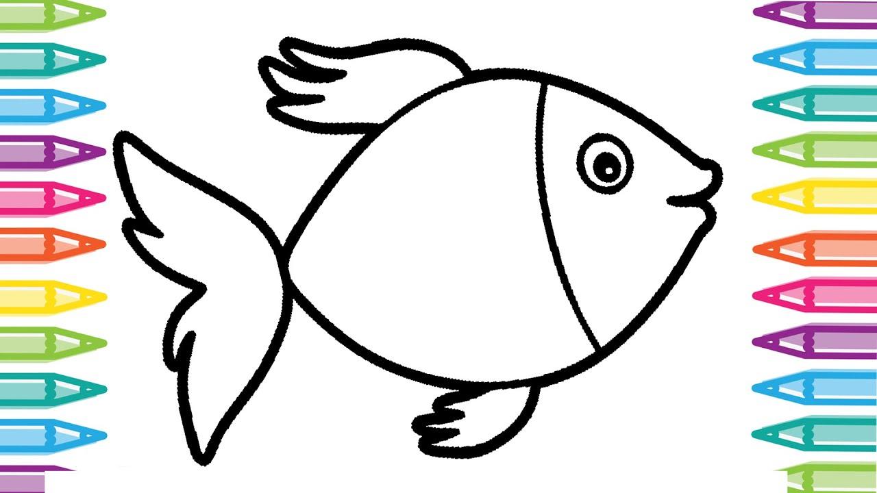 ausmalbild fisch einfach  kinder ausmalbilder