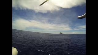 Helicopter flying from Tuna Boat with Hansen Helicopters