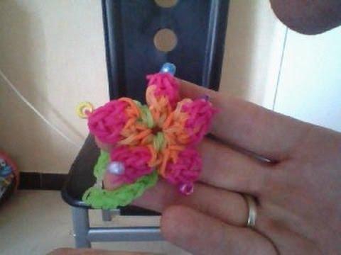 bracelet fleur hibiscus rainbow loom elastique facile. Black Bedroom Furniture Sets. Home Design Ideas