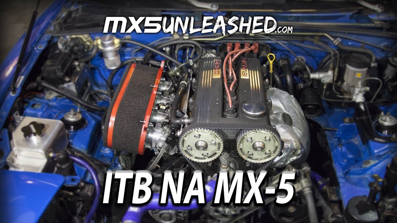 NA Miata with ITBs done in retro style