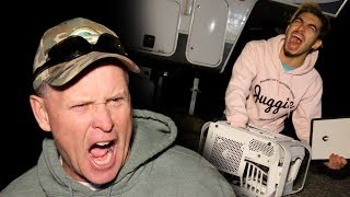 PSYCHO DAD SMASHES DOM'S COMPUTER AND KICKS HIM OUT!