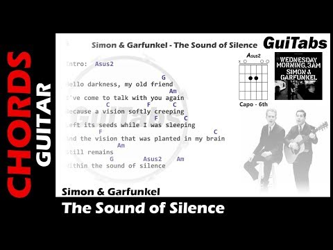 Simon & Garfunkel - The Sound Of Silence ( Lyrics and GuiTar Chords ) 🎸