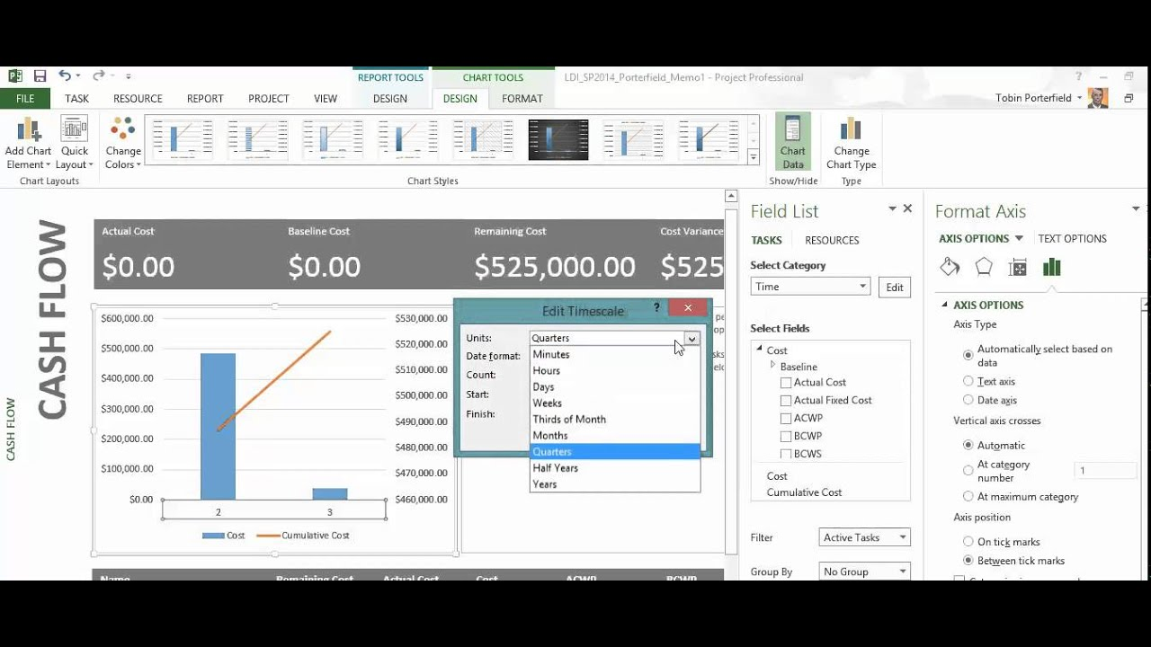 msp 2013 cashflow report youtube