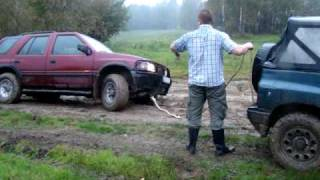 opel frontera off road with slick tyres need rescue