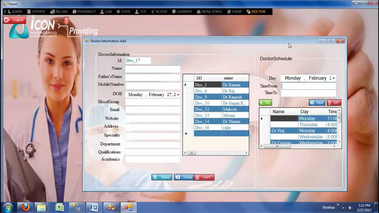 Hospital Management System -Doctor Schedule Module_ icon info ...