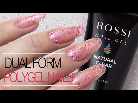 How to: Polygel Nails Using Dual Forms With Sparkles | Rossi Nail Kit Review