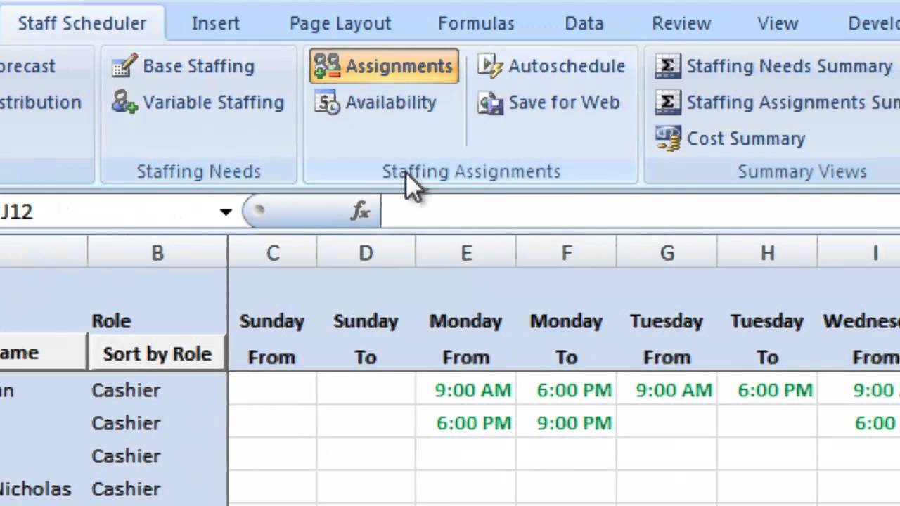 Labor Scheduling Template For Excel Retailers Version Overview - Labor schedule template