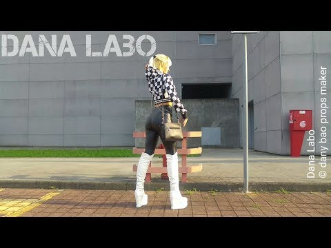 dana-labo-autumn-collection-walk-in-tight-leggings,-knee-high-boots-and-moto-gp-checkered-jacket