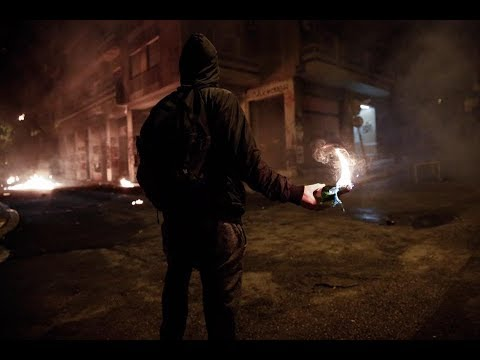 Front line view of the fierce December 6, 2015, riots in Athens, Greece (Location Exarcheia)