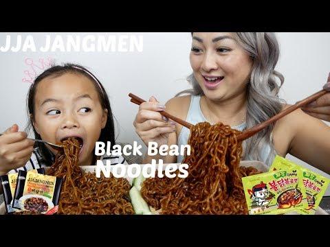 Black Bean FIRE Noodle | Mukbang | N.E Let's Eat