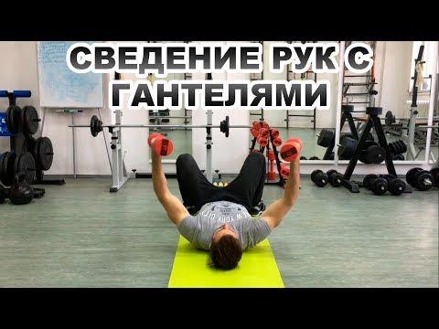 Сведение (разведение) рук с гантелями лежа на полу. Упражнения с гантелями. Укрепляем грудной отдел!