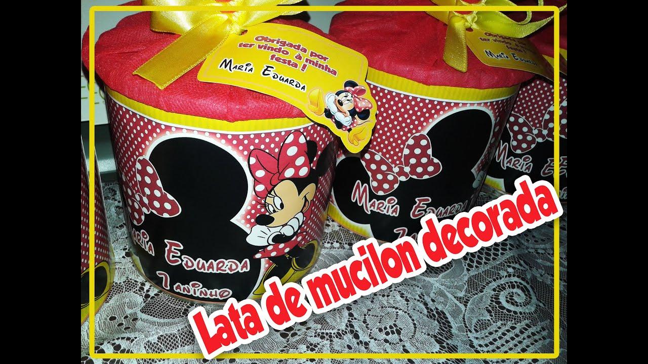 Artesanato Recife Antigo ~ DIY Como decorar lata de mucilon para lembrancinha de festa de aniversário YouTube
