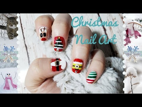 Diy 5 Super Easy Cute Christmas Holidays Nail Art Tutorial