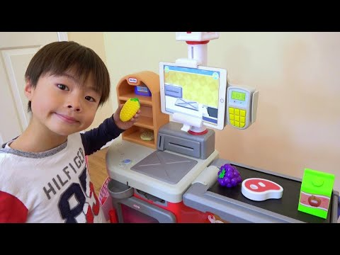 Use iPad! Supermarket Self Register Belt Conveyer Pretend Play Ko-kun nemi-chan KIDS-LINE