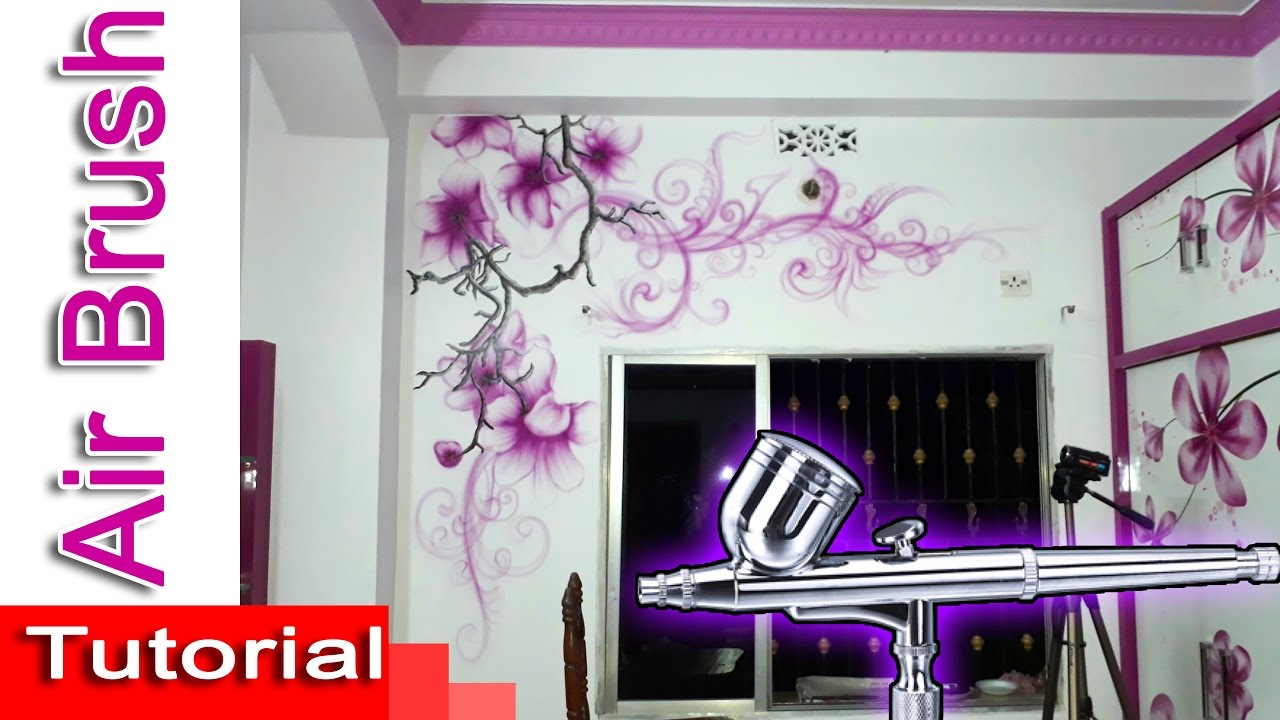 Airbrush Wall Painting Tutorial With Acrylic Paint Flowers And Florales Design By Nihar Debnath