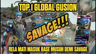 PERFECT!!! TOP 1 Global Gusion Savage Di Dalam Base Musuh dan Lihat Pengorbanan Chou Demi Gusion