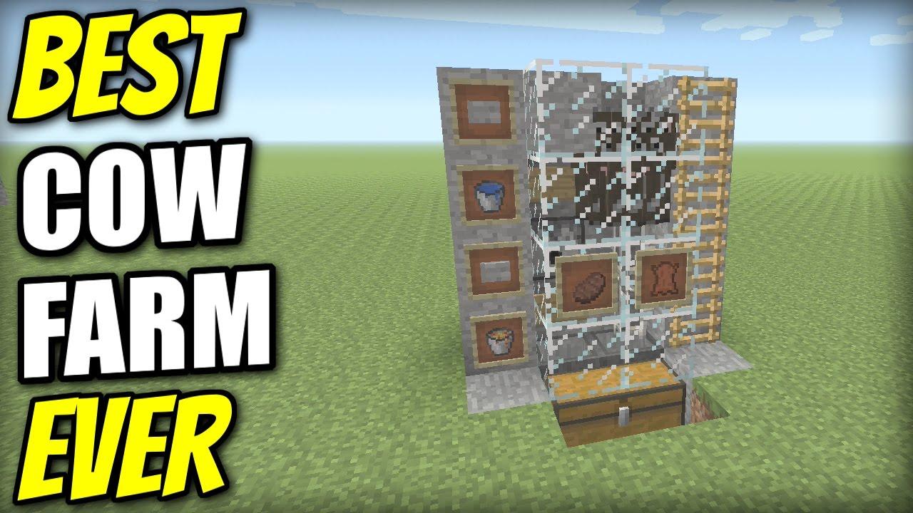 Minecraft Bedrock Best Automatic Cow Farm Tutorial Ps4 Mcpe Xbox Windows Switch Youtube