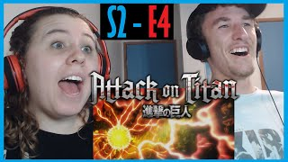 [RE UPLOAD] My Sister and I React to Attack on Titan S2 - E4