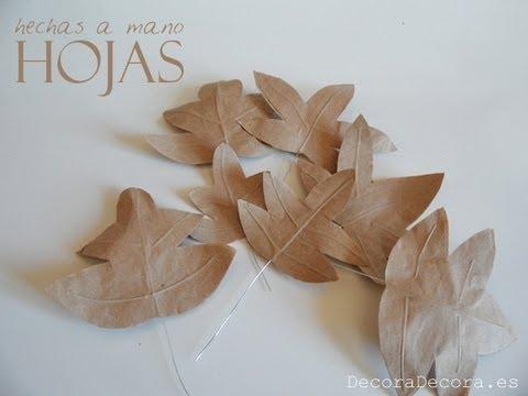 Hojas de papel hechas a mano youtube - Hojas de otono para decorar ...