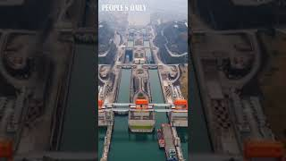 Ships passed through the two-way ship elevators controlled by five locks in the Three Gorges Dam