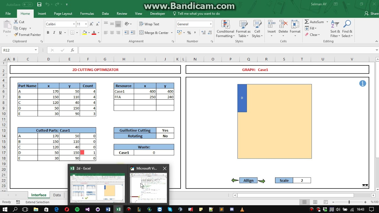 2D Cutting Optimizator with Excel Macro & Formulas