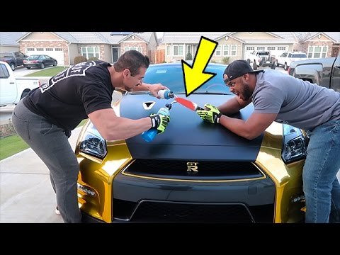 EXPERIMENT Glowing 1000 Degree KNIFE VS NISSAN GTR