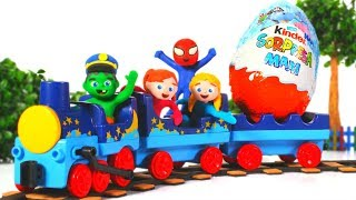 SUPERHERO BABIES GO ON A TRAIN AND FIND A GIANT SURPRISE EGG  ❤ SUPERHERO PLAY DOH CARTOONS FOR KIDS