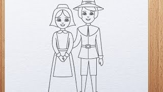 Drawing of Pilgrims for Thanksgiving Day