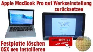 Apple MacBook Pro auf Werkseinstellung zurücksetzen - HDD löschen - OSX neu installieren - [4K]