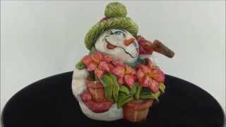 Ds102 David Sabol Wood Carving Snowman With Tiger Lilies And Shovel