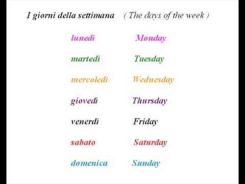 The days of the week and seasons in Italian, translated in English ...