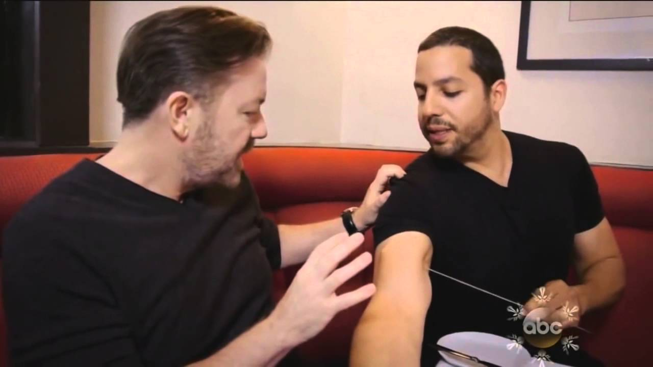 David Blaine pierce a huge needle trough his arm in front of Ricky