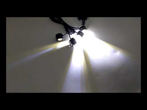DAY-TIME VIDEO 4In1 12W 4 LED Hawkeye Warn Strobe Lights DRL Wireless Remote Control Kit White