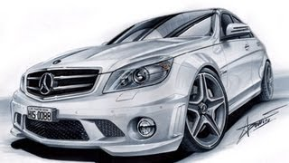 Mercedes C63 AMG drawing by Adonis Alcici