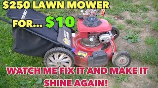 $250 Lawn Mower at a yard sale....For $10.00... From Ugly to shining like new. thumbnail
