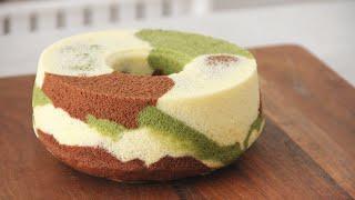 Camouflage Chiffon Cake 三色迷彩戚风蛋糕