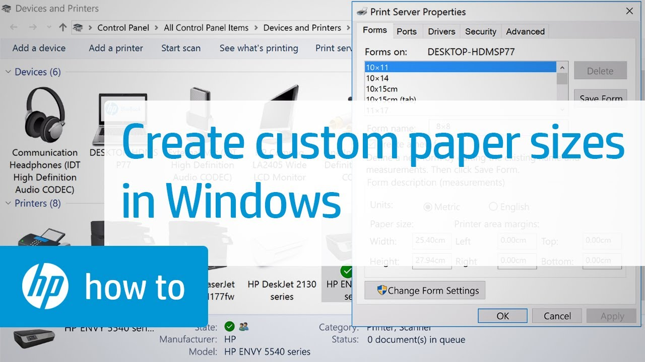 Creating Custom Paper Sizes For Printing In Windows  Youtube