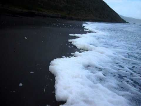 Foam rolls off the ocean, Raglan surf beach new Zealand.MOV