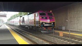 MBTA HSP-46 #2027 departs from South Attleboro