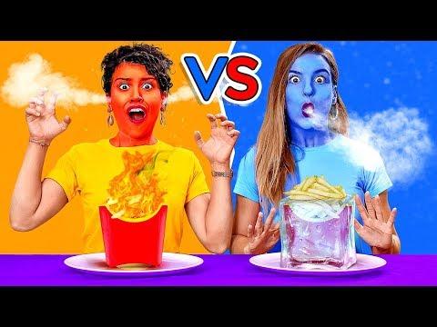 MAKAN MAKANAN PANAS vs DINGIN SELAMA 24 JAM! Yang TERAKHIR Makan Menang! DIY Prank 123GO! CHALLENGE