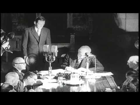 Canadian and Newfoundland government officials sign confederation agreement HD Stock Footage