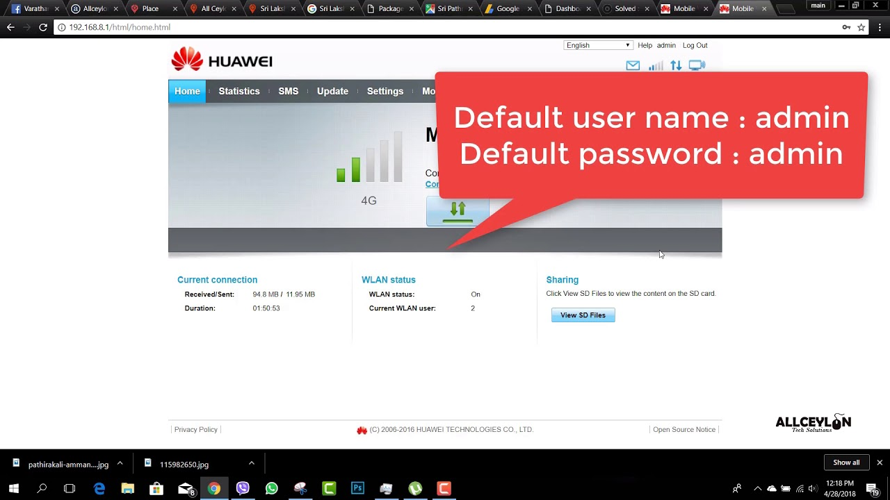 Solved : Huawei 4G wifi wingle default username , password E8372h