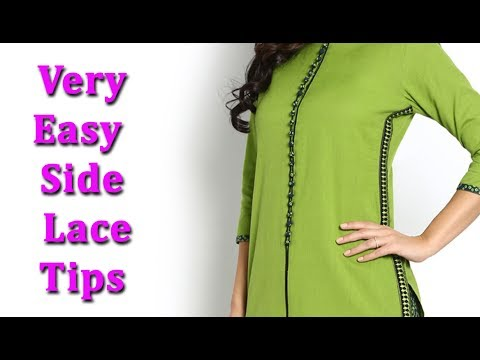 Side lace kurti, side seam lace kurti,how to attach lace in side of kurti