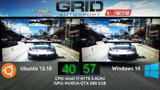 Ubuntu 15.10 VS Windows 10 : GRID Autosport Benchmark on a GTX 680