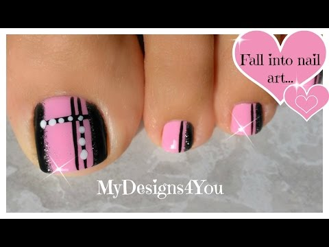 Quick Toenail Design | Pink And Black Pedicure ♥