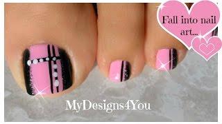 Quick Toenail Design   Pink and Black Pedicure ♥