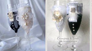 Декор свадебных бокалов лентами. Wedding glasses