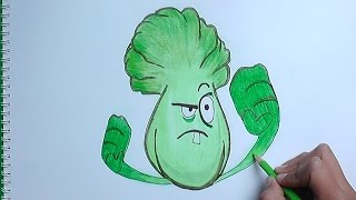 Dibujando y Pintando a Bonk Choy (Plantas vs Zombies 2) - how to draw Bonk Choy
