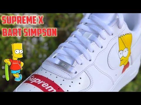 Custom Supreme x Bart Simpson Air Force 1s
