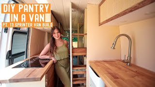 From VAN to TINYHOME | HIDDEN PANTRY and Cabinets // Sprinter Van Build
